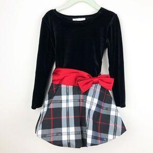 Bonnie Jean Velvet Plaid Holiday Dress Size 4/4T